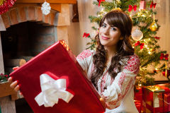 Beautiful young woman at christmas Stock Photography
