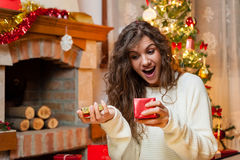 Beautiful young woman at christmas Royalty Free Stock Images