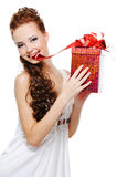Beautiful young woman with a christmas present Royalty Free Stock Photography