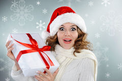 Beautiful young woman with Christmas present box Stock Photography