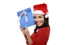 Beautiful Young Woman With Christmas Present Stock Photos