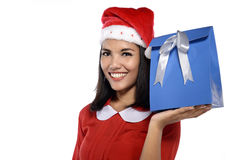 Beautiful Young Woman With Christmas Present Royalty Free Stock Photography