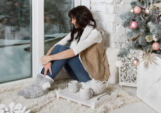 Beautiful young woman in Christmas tree Royalty Free Stock Photos