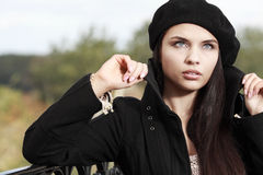 Beautiful young woman in a city Stock Photography