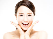 Beautiful young woman with clean face stock photos
