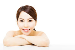 Beautiful young  woman with clean face Stock Photo