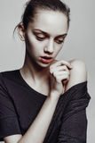 Beautiful Young Woman with Clean Fresh Skin stock photography