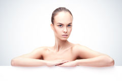 Beautiful young woman with clean fresh skin Stock Images