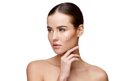 Beautiful Young Woman with Clean Fresh Skin Stock Photos