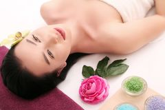 Beautiful Young Woman with Clean Fresh Skin touch own face . Fac Royalty Free Stock Images