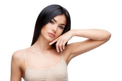 Beautiful Young Woman with Clean healthy hair Stock Images