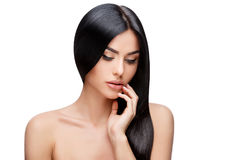 Beautiful Young Woman with Clean healthy hair. Beautiful Face of Young Woman with Clean healthy hair close up isolated on white. Beauty Portrait. Beautiful Spa Stock Photos