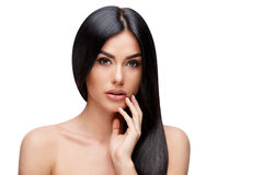 Beautiful Young Woman with Clean healthy hair. Beautiful Face of Young Woman with Clean healthy hair close up isolated on white. Beauty Portrait. Beautiful Spa Royalty Free Stock Photography