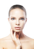 Beautiful young woman with clean skin isolated Royalty Free Stock Photos