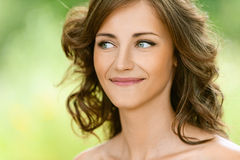 Beautiful young woman close-up Stock Images