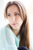 Beautiful young woman close up face portrait Stock Photos