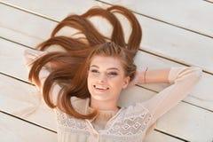 Beautiful young woman close-up Stock Photos