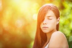Beautiful young woman close up Stock Photos