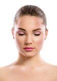 Beautiful young woman  with closed eyes Stock Images