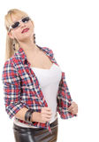 Beautiful young woman clothed in a leather skirt and shirt Royalty Free Stock Image