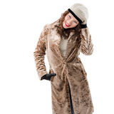 Beautiful young woman in a coat. On white background Royalty Free Stock Image