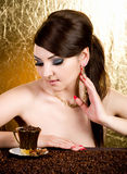 Beautiful young woman with coffee Royalty Free Stock Photos