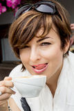 Beautiful young woman with coffee Stock Photography