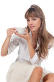 Beautiful young woman with coffee cup Stock Image