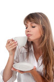 Beautiful young woman with coffee cup Royalty Free Stock Photo