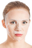Beautiful young woman with collagen mask. Stock Photos