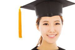 Beautiful young woman college graduation isolated Royalty Free Stock Photos
