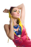 Beautiful young woman in color wear Stock Image