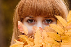 Beautiful young woman - colorful autumn portrait Royalty Free Stock Photography
