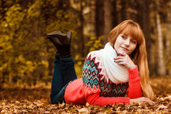 Beautiful young woman - colorful autumn portrait Royalty Free Stock Photos