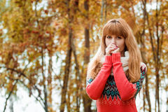 Beautiful young woman - colorful autumn portrait Royalty Free Stock Photo