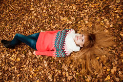 Beautiful young woman - colorful autumn Stock Images