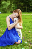Beautiful young woman in colorful dress Stock Photography