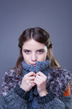 Beautiful young woman in colorful winter outfit. Stock Image