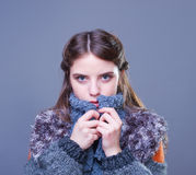 Beautiful young woman in colorful winter outfit. Royalty Free Stock Photos