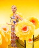 Beautiful young woman in colourful dress Royalty Free Stock Image