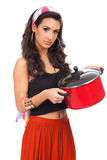 Beautiful young woman cook Royalty Free Stock Photos