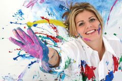 Beautiful Young Woman Covered In Paint Royalty Free Stock Photo