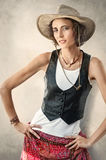 Beautiful young woman in cowboy hat Royalty Free Stock Photo