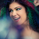 Beautiful young woman with crazy hairstyle Stock Photography