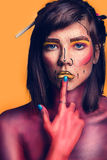 Beautiful young woman with creative pop art makeup Royalty Free Stock Photography