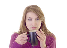 Beautiful young woman with cup Royalty Free Stock Images