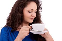Beautiful young woman with cup of coffee Royalty Free Stock Images