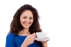 Beautiful young woman with cup of coffee Royalty Free Stock Image