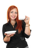 Beautiful young woman with cup of coffee Stock Images