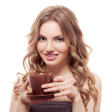 Beautiful young woman with cup of coffee, isolated Royalty Free Stock Images